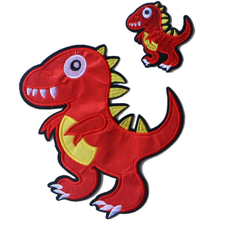 חמוד קטן בעלי החיים 3D אדום דינוזאור תיקון עבור מדבקת בגדים לילדים ילד ילדה DIY תיקוני חולצה העברת חום תגי