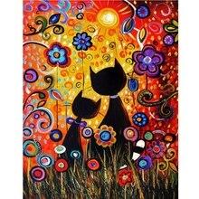 5D Diy полная дрель Алмазная картина из стразов Цветочная кошка картины из стразов алмазные наборы для рисования, рукоделия и шитья крестиком