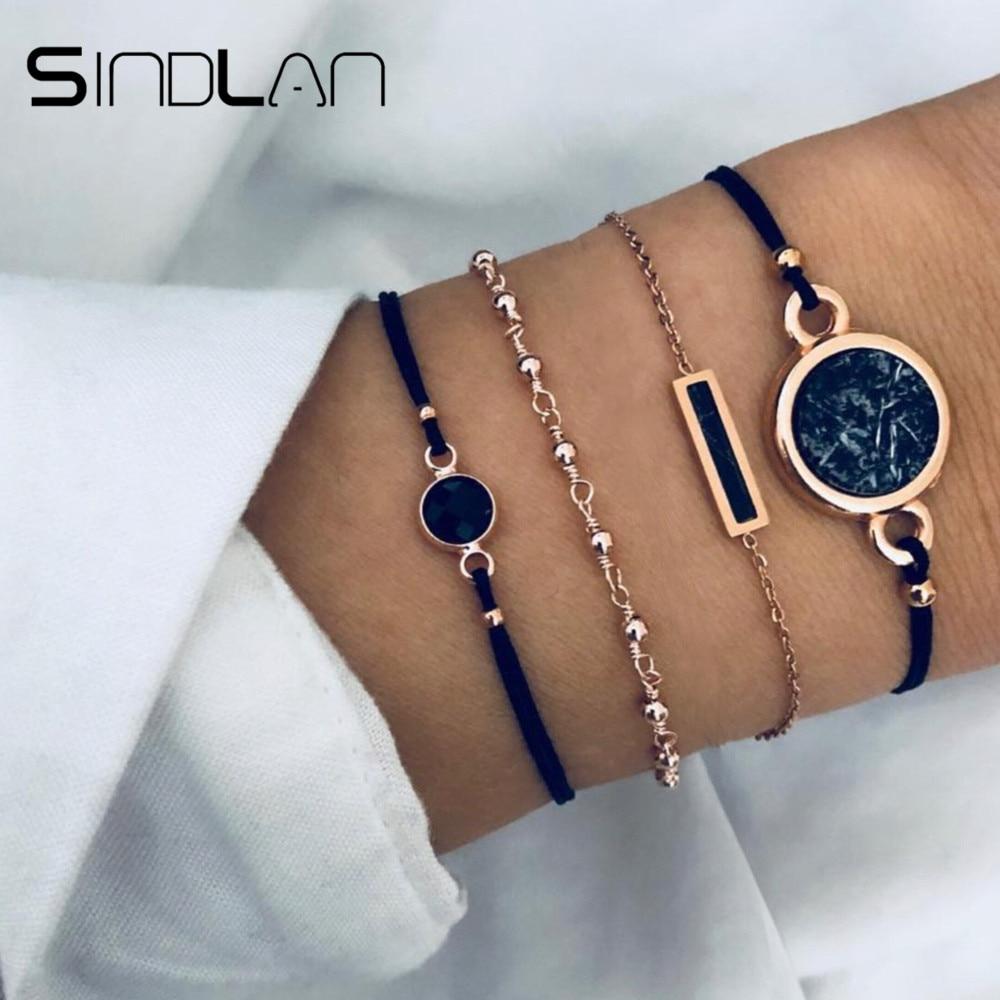 Sindlan 4PCs Cool Black Rectangle Charm Bracelet Sets Handmade Wrist Rope Chain Fashion Jewelry for Women Bangles Gift Pulsera