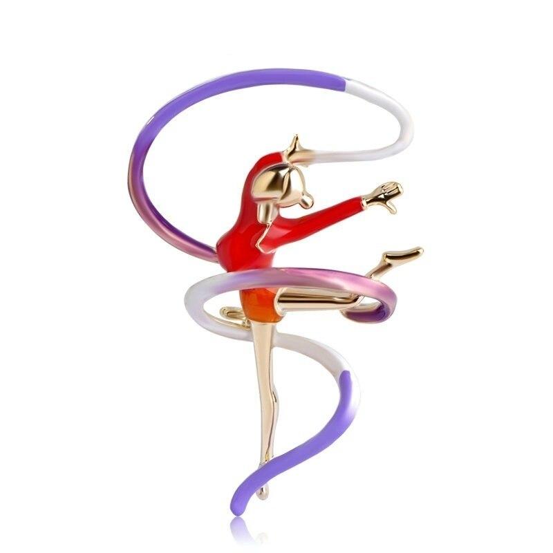 Женская эмалированная брошь в виде гимнастики, золотого цвета