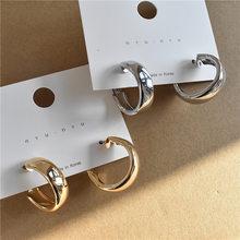 Minimalist Metal Glossy Round Big Hoop Earrings for Women Girl Wedding Party Jewelry A5
