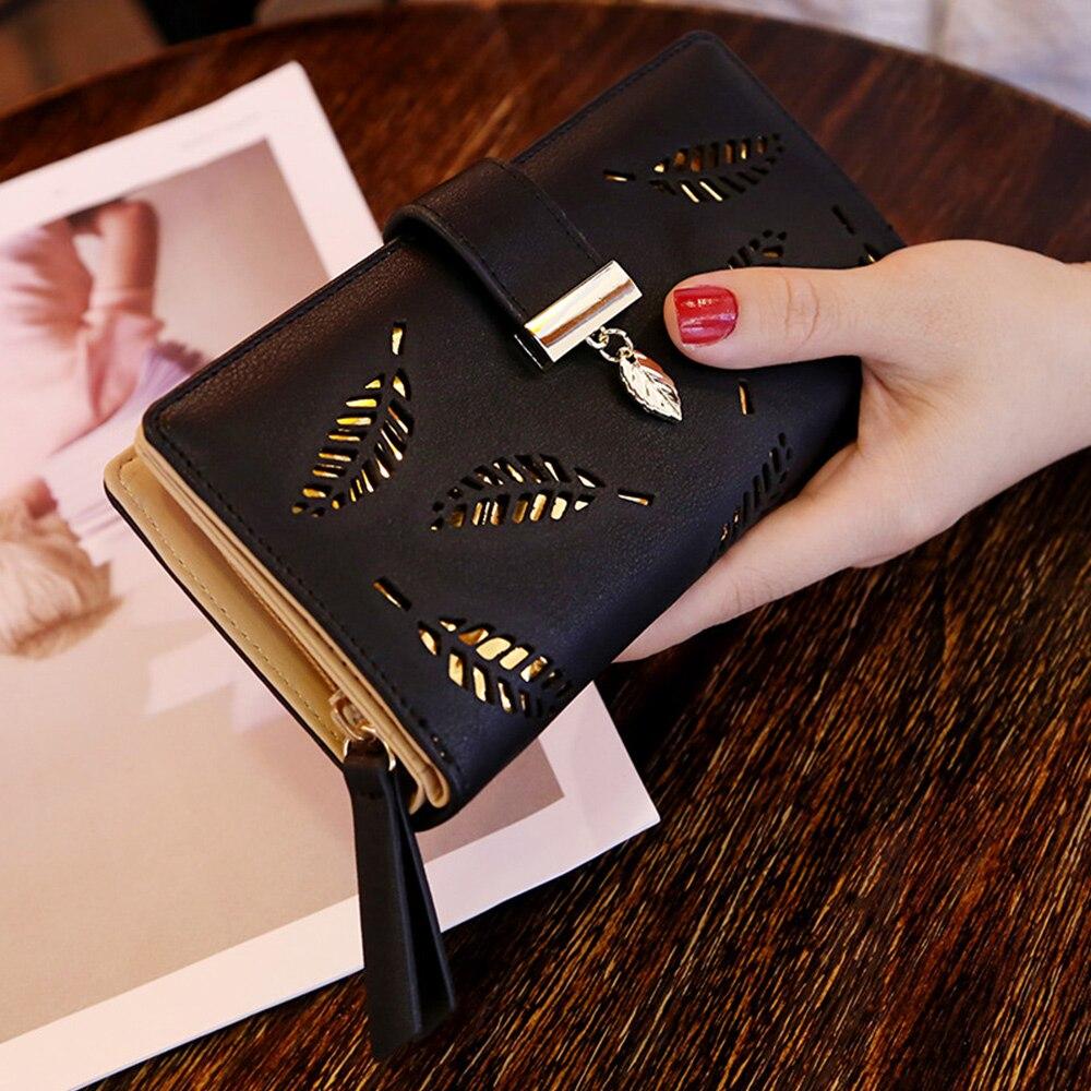 Женский кошелек из искусственной кожи, дамские длинные бумажники с золотыми листьями, сумочка для мелочей, кредитница, клатч