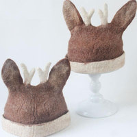Cute Antler Ears Wool Felt Hats for women Fashion Original Handmade Animal Headgear Hats Christmas Gift Forest Elk Cap Elf Hat