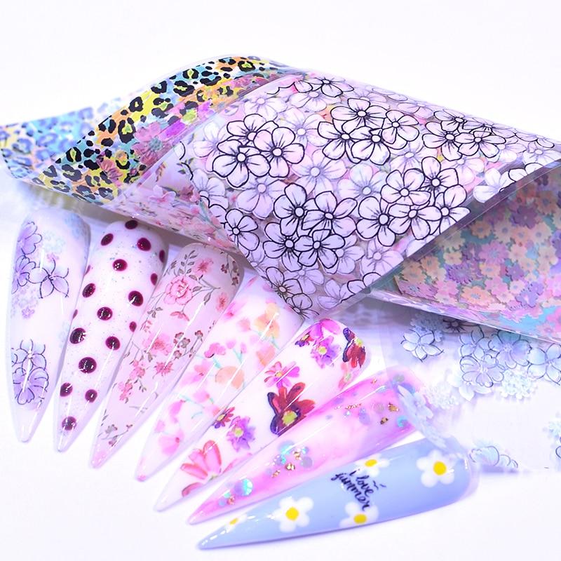 10pcs Flower Nail Art Foils Transfer Slider Mixed Designs Rose DIY Sticker Nail Foil UV Gel Adhesive Wraps Accessories