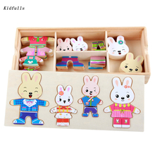 Montessori Toys Educational Wooden Materials Toys for Children Early Learning Sensorial Cognition Rabbit Change Clothes Games early efl vocabulary learning impact of games