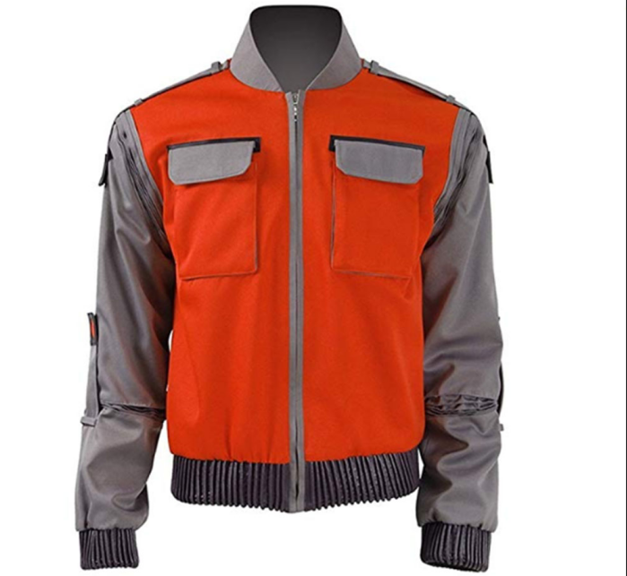 Film Back To The Future Cosplay Jacket Jr Marlene Seamus Marty McFly Orange Outerwear Men's Halloween Carnival Costume Any Size