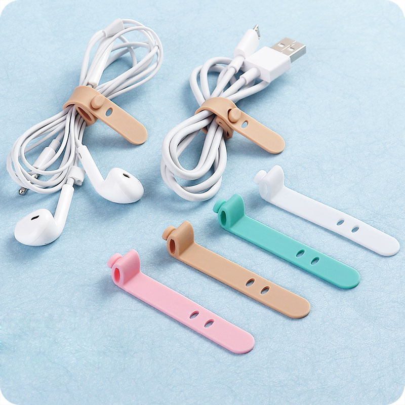 4PCS Headphone Winder Cable Holder Storage Clip Multifunctional Durable Silicone Headphone Data Cable Mobile Computer Winder