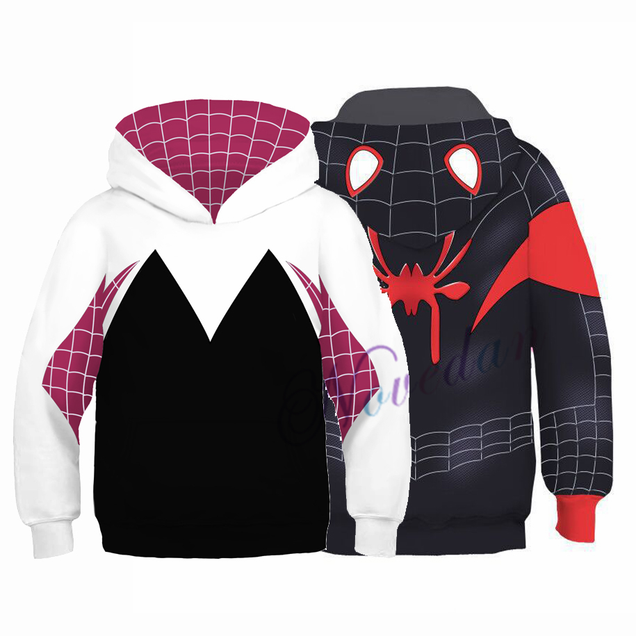3D Spider Man Miles Morales Spider Gwen Hoodie Sweatshirt Girls Boys Kids Christmas Halloween Cosplay Spiderman Costume