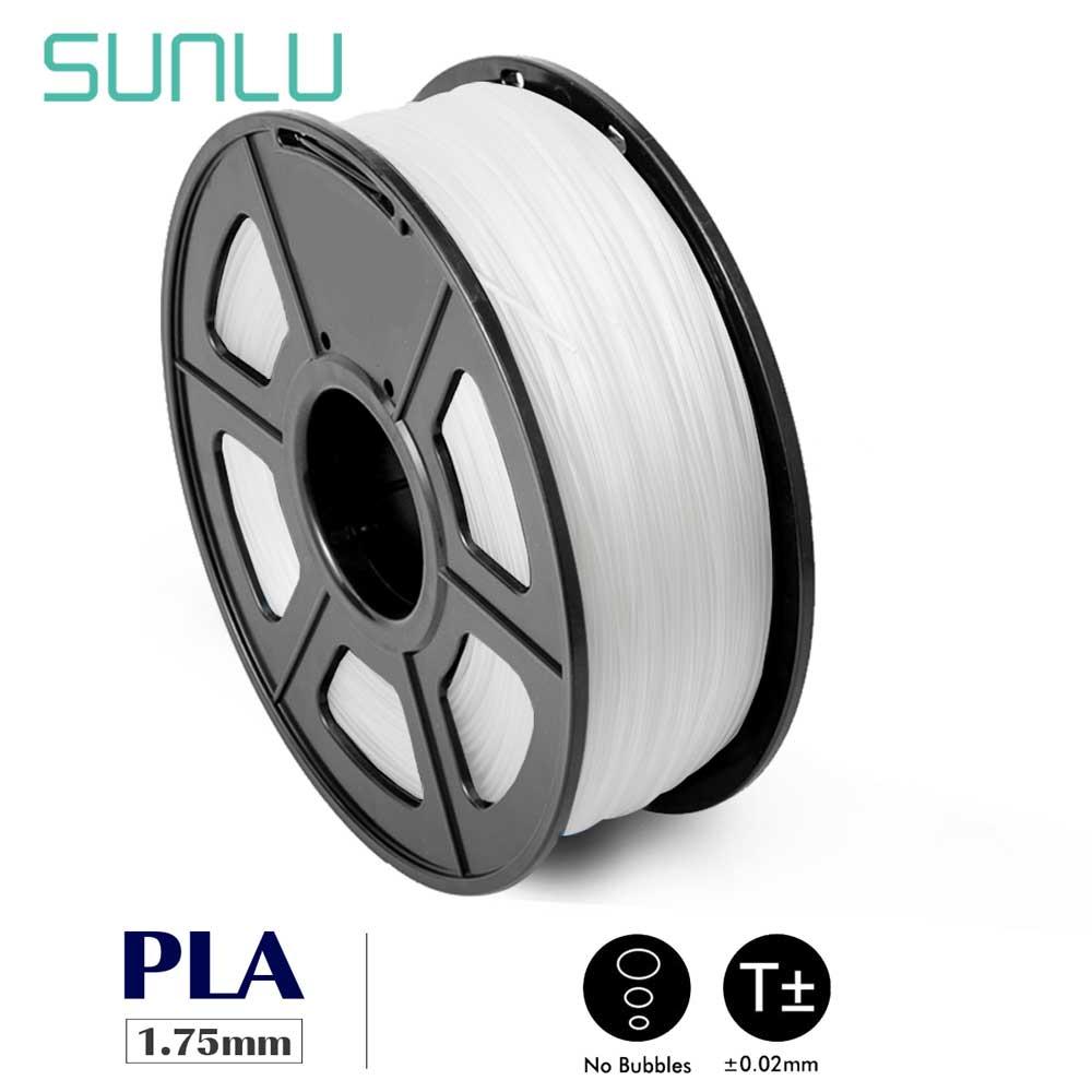 Filament de PLA de SUNLU pour l'imprimante 3D 1.75MM brillent dans le plastique blanc de Sublimation noir consommable de PLA 1 KG/2.2LBS avec la bobine