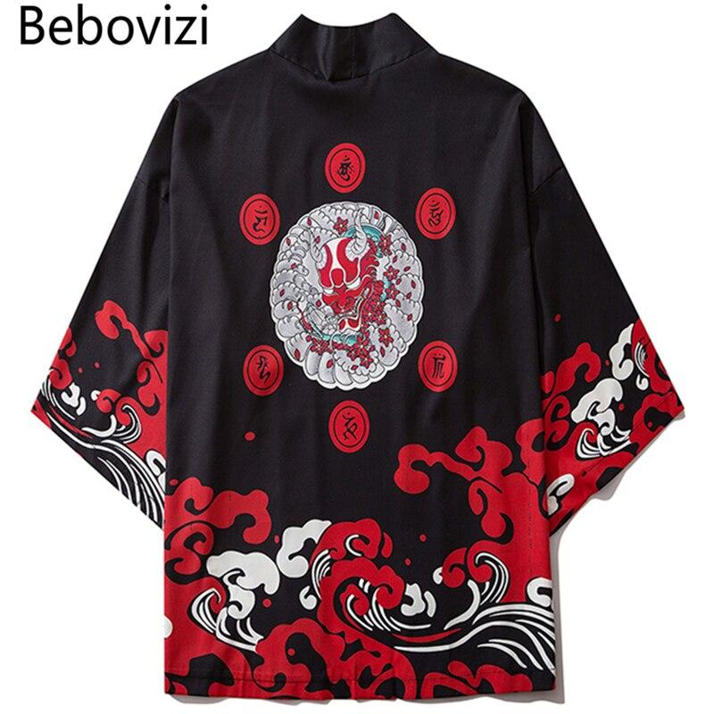 Bebovizi Harajuku Kimono 2020 Men Japanese Thin Kimono Streetwear Traditional Cardigan Samurai Yukata Demon Haori Obi Kimono