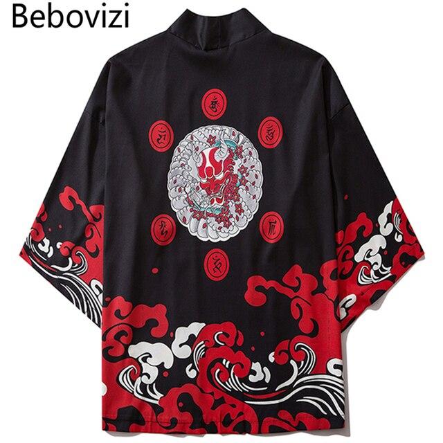 Bebovizi Harajuku Kimono 2020 mężczyźni japoński cienki Kimono Streetwear tradycyjny kardigan samuraj Yukata mężczyzna Haori Obi Kimono