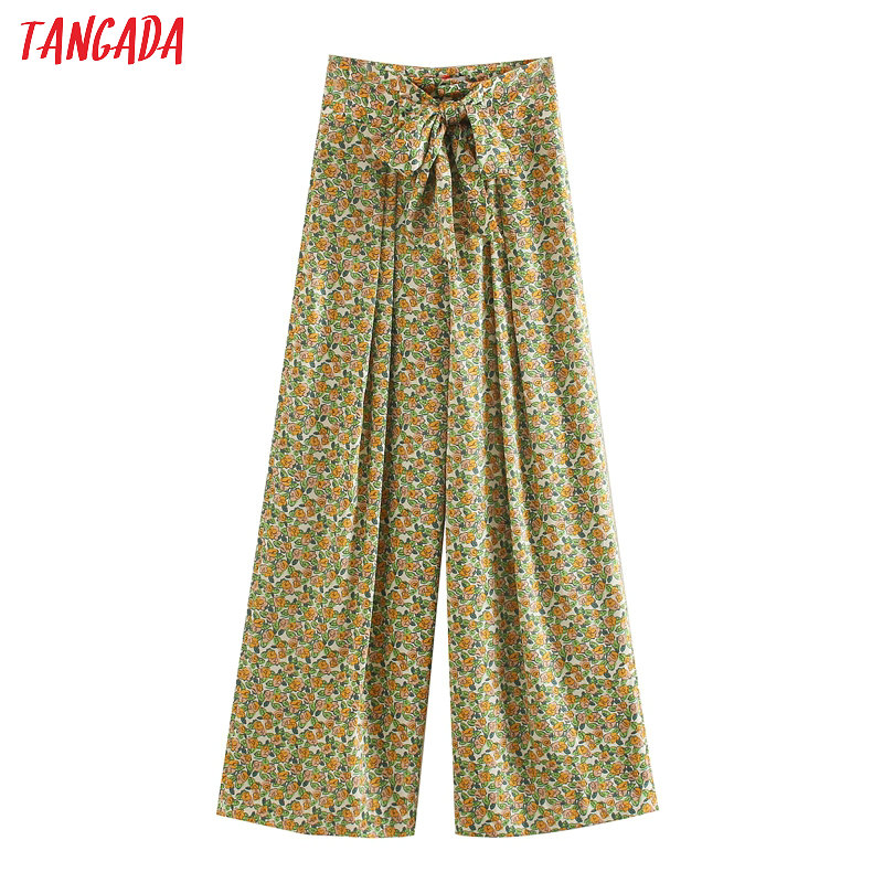 Tangada Fashion Women Floral Print Long Pants Trousers With Slash Pockets Boho Style Beach Pants Pantalon JE56