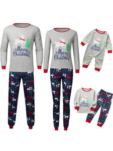 Christmas Pajamas Xmas Family Kids Children Letter Boy Roupa Print Top--Pants Infantil