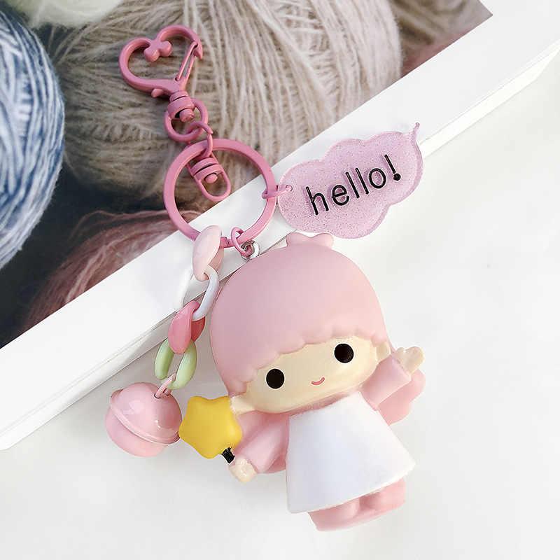 2019 novo bonito dos desenhos animados hello kitty boneca chaveiros feminino meninas charme sacos chaveiro acessórios do carro pingente novo chaveiro