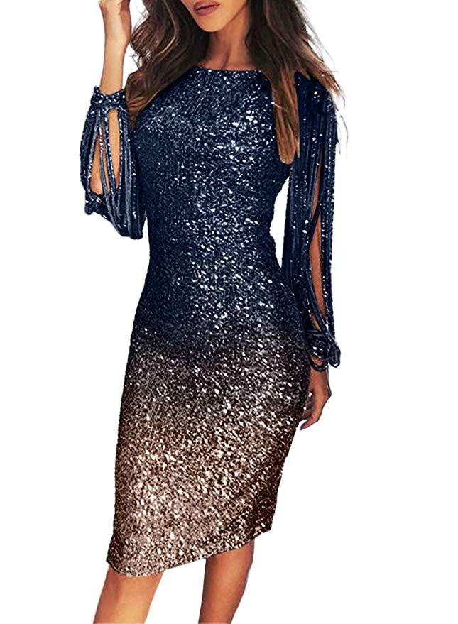 US $7.99 29% OFF|Sexy V Neck Sequins Evening Dresses Long Sleeve Floor  Length Mermaid Formal Party Dress Prom Gowns Vestido De Noche Plus Size on  ...