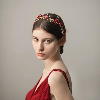 O366 Red Cloth Flowers Bridal Hairband jewelled metal arab headpiece beaded rhinestone headband недорого