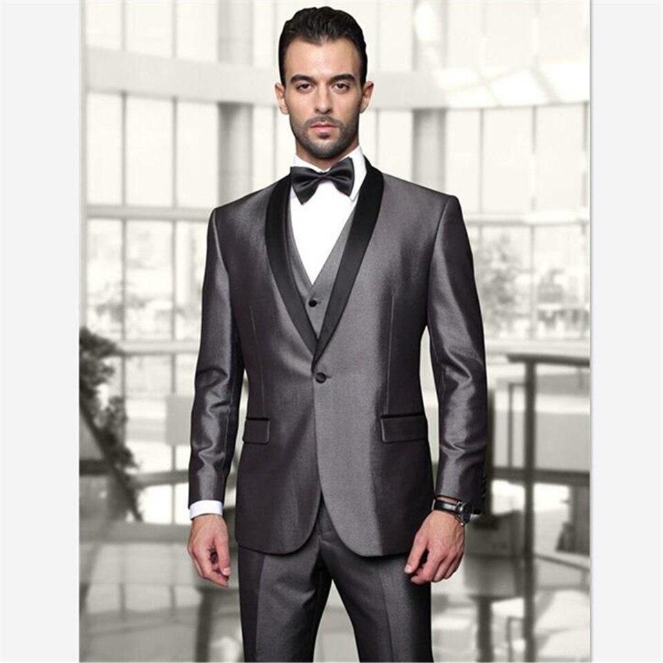 New Elegant Men's Suit One Button Shiny Silver Groom Tuxedos With Black Shawl Lapel Best Man Wedding Wears Groomsman Men's Suit