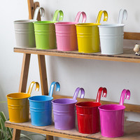 2019 Hook flower pot Hook Detachable Flower Pot Metal Iron Hanging 10PCS Different Colored Vases A725