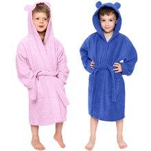 Одноцветные фланелевые банные халаты с капюшоном для маленьких мальчиков и девочек, Ночная одежда, одежда для сна, детские пижамы для мальчиков-подростков
