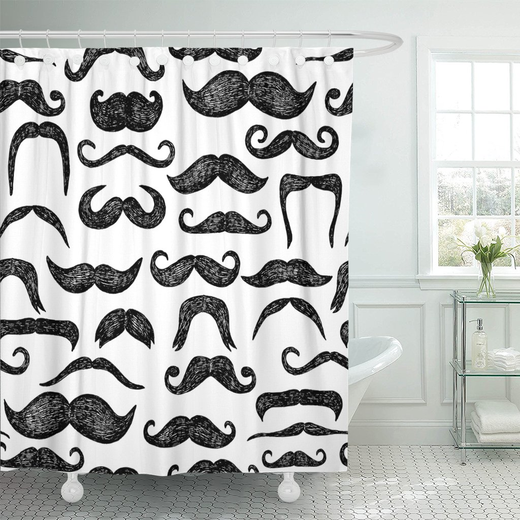 mexican mustaches black and white color men cartoon french shower curtain waterproof polyester fabric 72 x 78 inches set