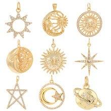 Collar con colgante de Sol para mujer y hombre, cadena de cuello de mariposa, estrella, Luna, Sol