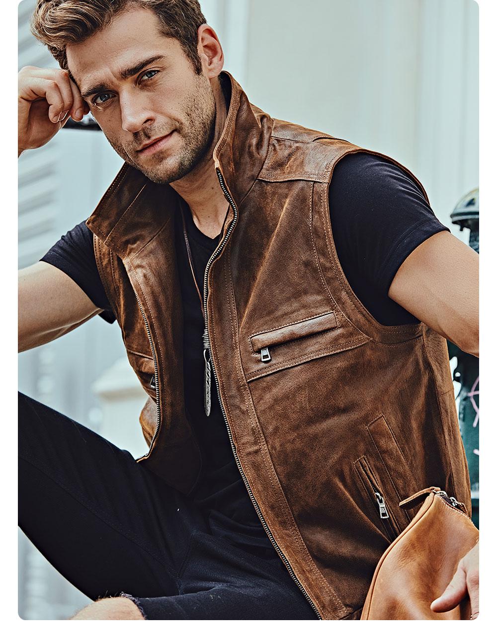 H2f33d571360d44d0ad5d9c70f7bbee147 Mew Men's Leather Retro Vest Stand Collar Men's Motorcycle Casual Vest