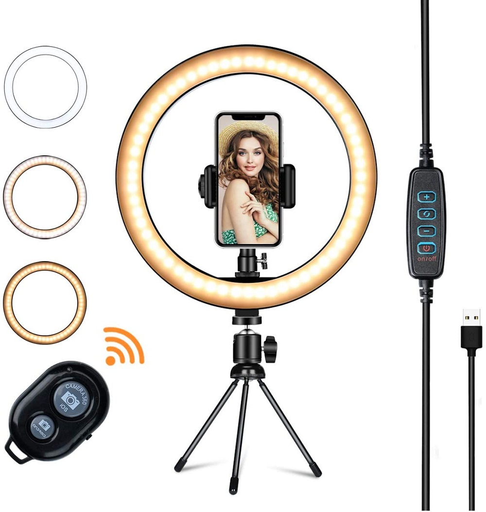 LED Ring Light with Tripod Stand Phone Holder YTOM 10inch Selfie Ring Light Makeup Phone Ring Lamp for YouTube Video Photography