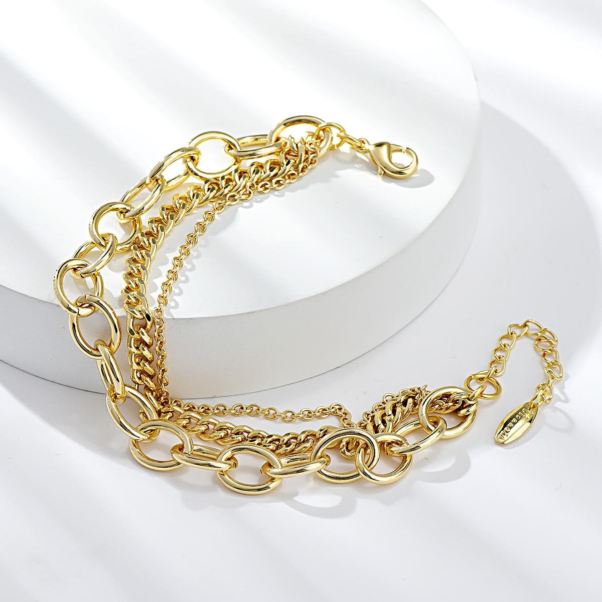 Viennois Dubai Style Simple Design Chain Bracelets & Bangles for Women Summer Beach Gift Wedding Gift Women Accessories