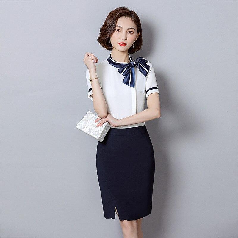 WOMEN'S Short Sleeve Shirt Fold-down Collar Commuting Ol Wind Work Clothes Slimming Wear Set