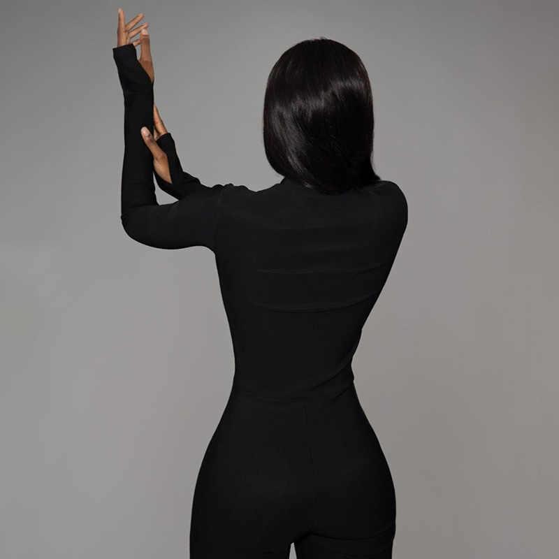 2020 Tuta Femminile New Fitness Pagliaccetto Donna Nero bianco Sexy Aderente Tuta Lunga Chiusura Lampo Del Manicotto Tuta Elastica Del Corpo Mujer