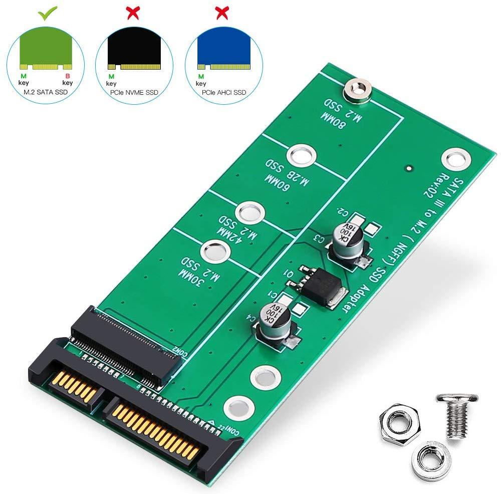Onvian M2 adaptador SATA III M.2 (NGFF) SSD convertidor SATA en B/clave B + M 6Gbps alta velocidad adaptador de convertidor de tarjeta