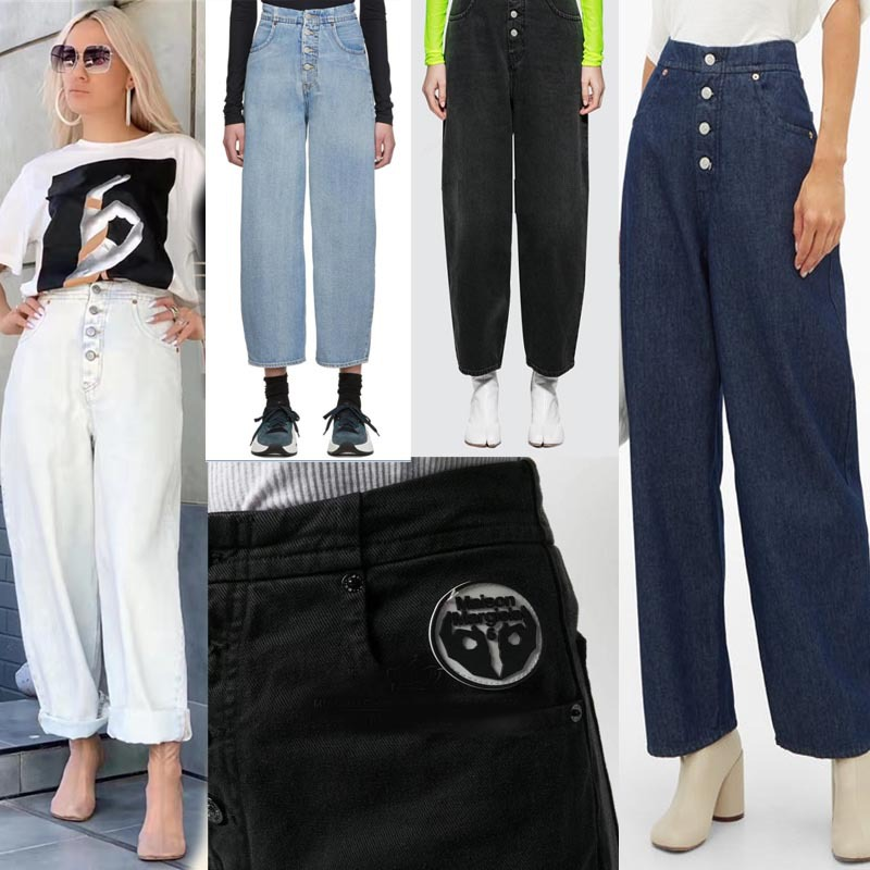 2020 Spring Summer Women's Button Washed High Waisted Ankle-length Pants Wide Leg Straight Jeans Pant M3