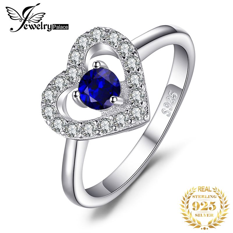 JewelryPalace Love Heart 0.6ct Created Blue Spinel Ring 925 Sterling Silver Jewelry New Gift  For Women Engagement Ring Bridal