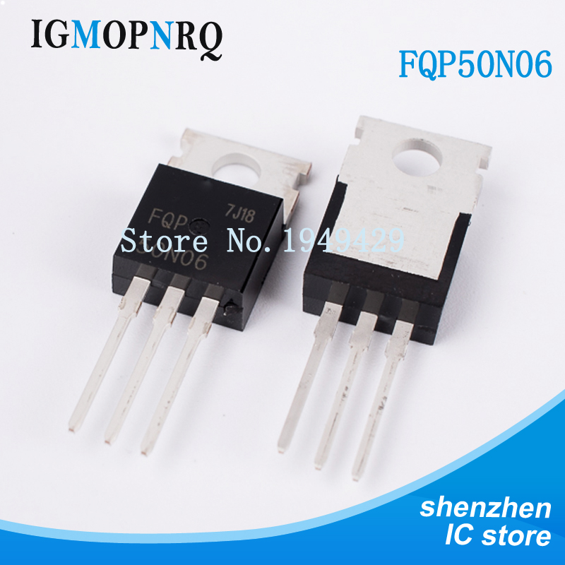 10pcs Free Shipping FQP50N06 50N06 MOSFET TO-220 N-CH 60V 50A New Original