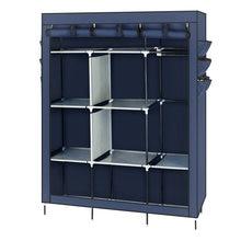 Новый стиль 69 дюймовый нетканый Тканевый шкаф темно синего