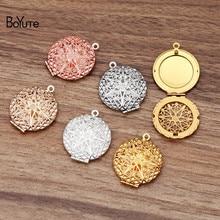 BoYuTe (10 Pieces/Lot) Round Oval Heart Shaped Metal Brass Filigree Locket Pendant Can Open to insert Photo Locket Pendant