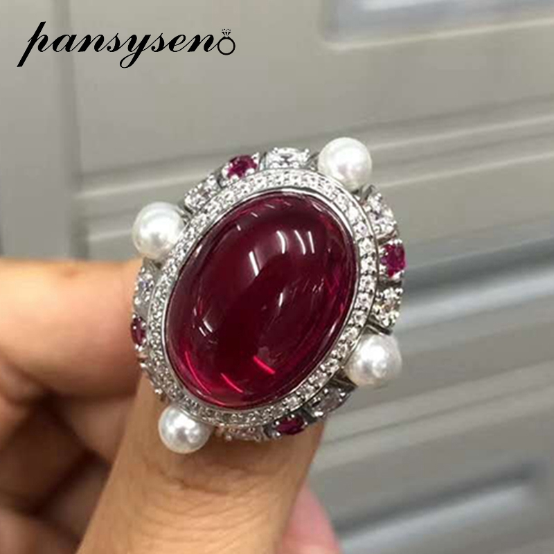 PANSYSEN Top Quality 100% Solid 925 Sterling Silver 13x18MM Ruby Pearl Gemstone Rings Wedding Anniversary Fine Jewelry Ring Gift