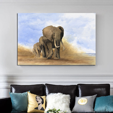 Elephant On The Grassland Canvas Poster Nordic Decorative Picture Painting Modern Wall Art Canvas Painting Home Decor Art Prints hot sale green leaf canvas poster nordic decorative pictures painting modern wall art canvas painting home decoration art prints