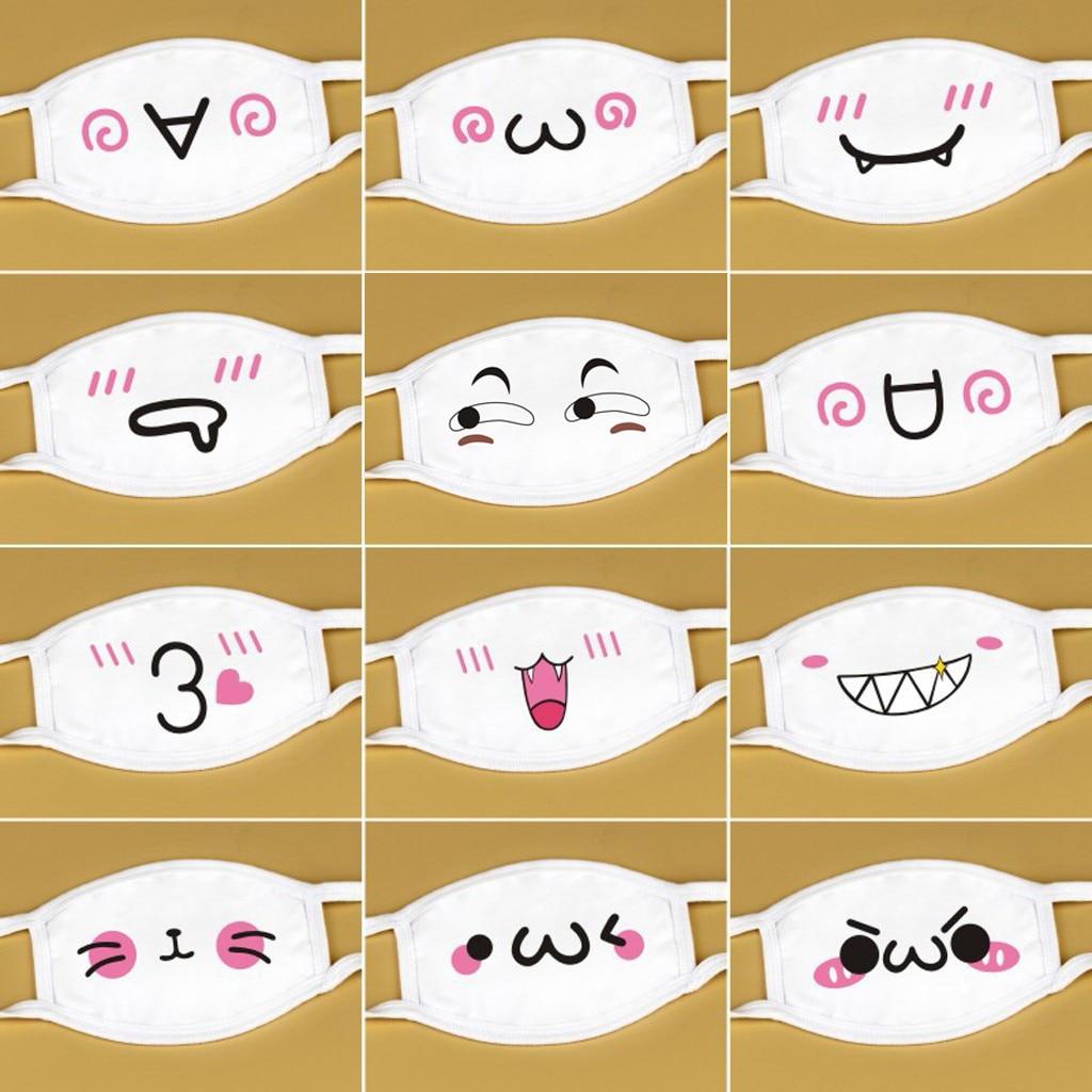Дышащая моющаяся Тканевая маска унисекс, многоразовые маски для рта, белые милые аниме маски для лица