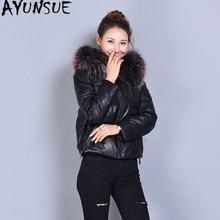 AYUNSUE овчина Женская куртка из натуральной кожи зимняя куртка Лисий меховой воротник корейские пуховики Chaqueta Mujer MY4052