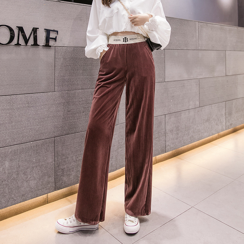 2019 Women High Waist   Pants   &   Capris   Wide Leg   Pants   Corduroy Loose Long   Pants   Solid Color Casual Trousers