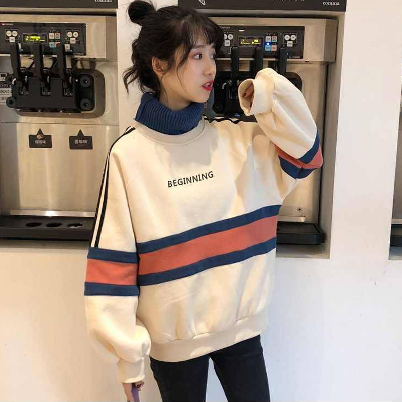 Winter Women's Fashion Style Plus Velvet Thick Turtleneck Stitching Letter Printing Pullover Sweatshirt Female Students Loose
