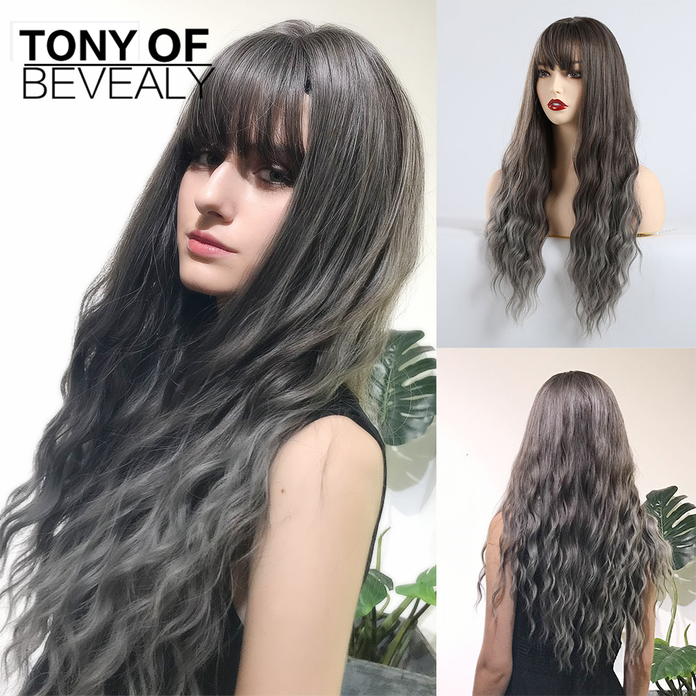 Long Wavy Brown To Ash Ombre Hair Wigs With Bangs Heat Resistant Synthetic Wigs For Afro Women Cosplay Party Natural Wigs