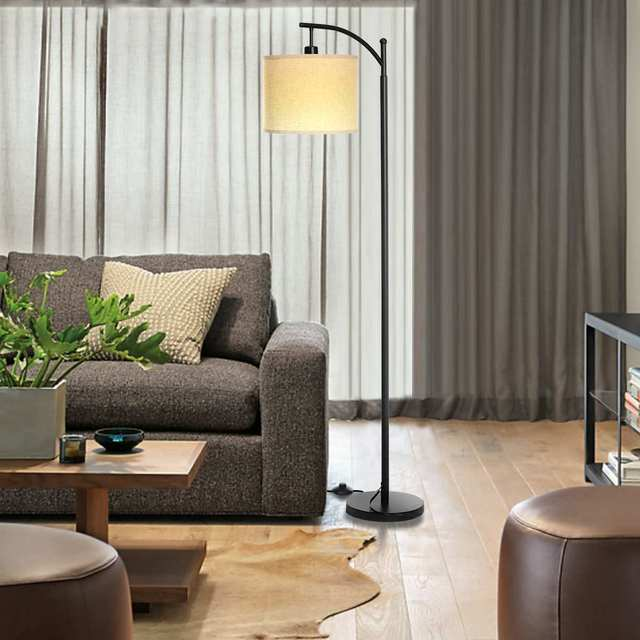 Floor Lamp Modern Standing Lamp with Hanging Lamp Shade Industrial Arc Floor Lamp Classic Reading for Living Room Bedroom Office