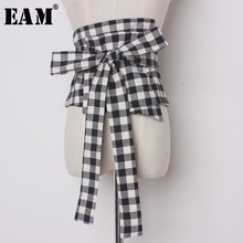 [EAM] 2020 New Spring Spring Solid Color Black White Plaid Long Wide Bandage Bow Belt