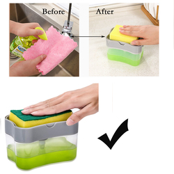 2020 New Fashion Washing-up Liquid Container kitchen Squeezing Box Spongia Duster Cloth Press Automatic See-Through Body Bottle