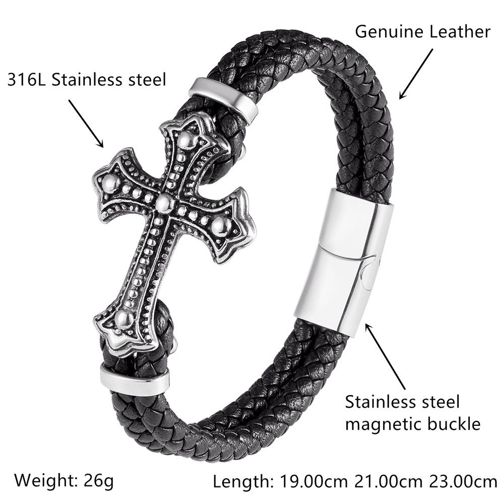 Popular Genuine Leather Bracelet Male Black & Brown Fashion Braid Rope Multilayer Bracelet Men Stainless Steel Bracelets Jewelry