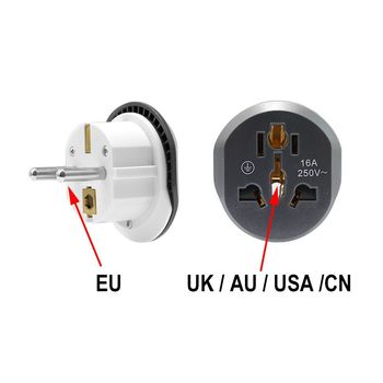цена на EU Euro Power Plug Adapter Universal US UA UK To Euro European Travel Plug AC 250V 16A Converter Electrical Outlet Socket
