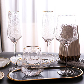 Wine Glass Goblet Whiskey Champagne Cocktail Glass Dinner Decorate Handmade Crystal Wine Party Retro Vintage Relief Goblet