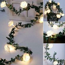 Battery Flower Led String-Lights Luminaria Christmas-Decor Rose Leds Valentine's-Day-Party-Garland